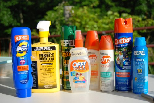 Toiletries: bug spray and sunscreen.for travelling in Thailand