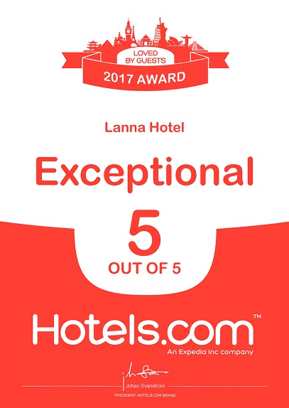 Hotels Dot Com Exceptional 5 out of 5 Award 2017 LANNA