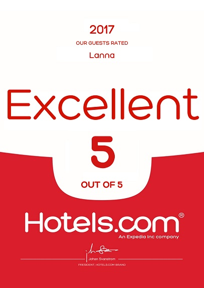 Hotels Dot Com Excellent 5 out of 5 Award 2017 LANNA